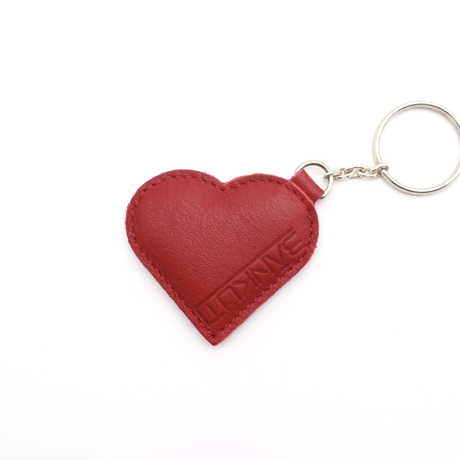 LEATHER HEART KEYCHARM CHERRY RED