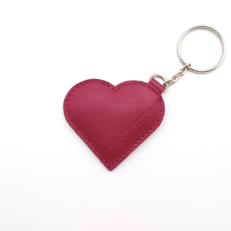 LEATHER HEART KEYCHARM FUXIA