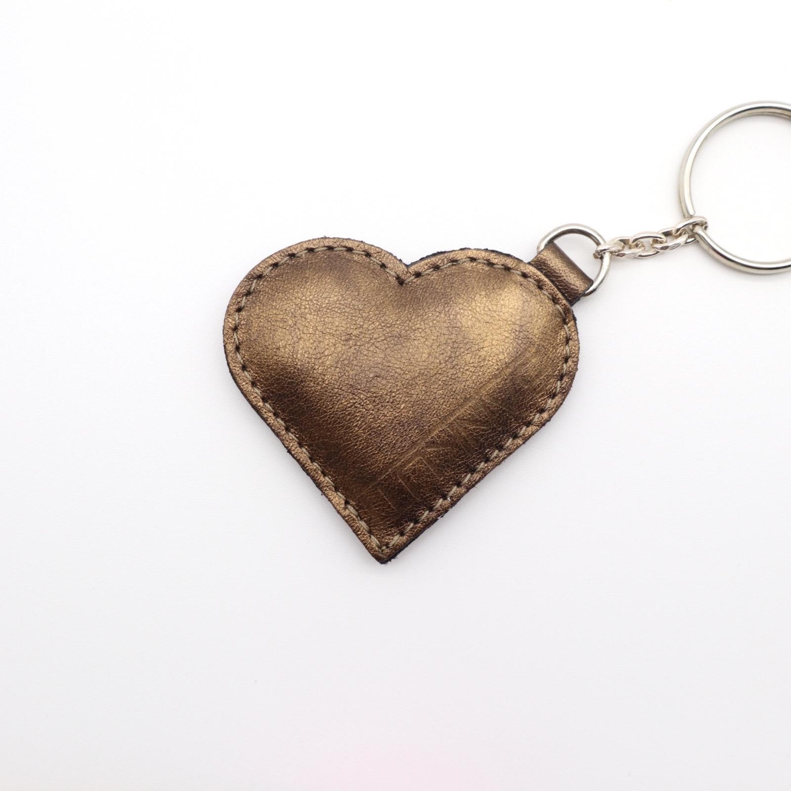 LEATHER HEART KEYCHARM BRONZE