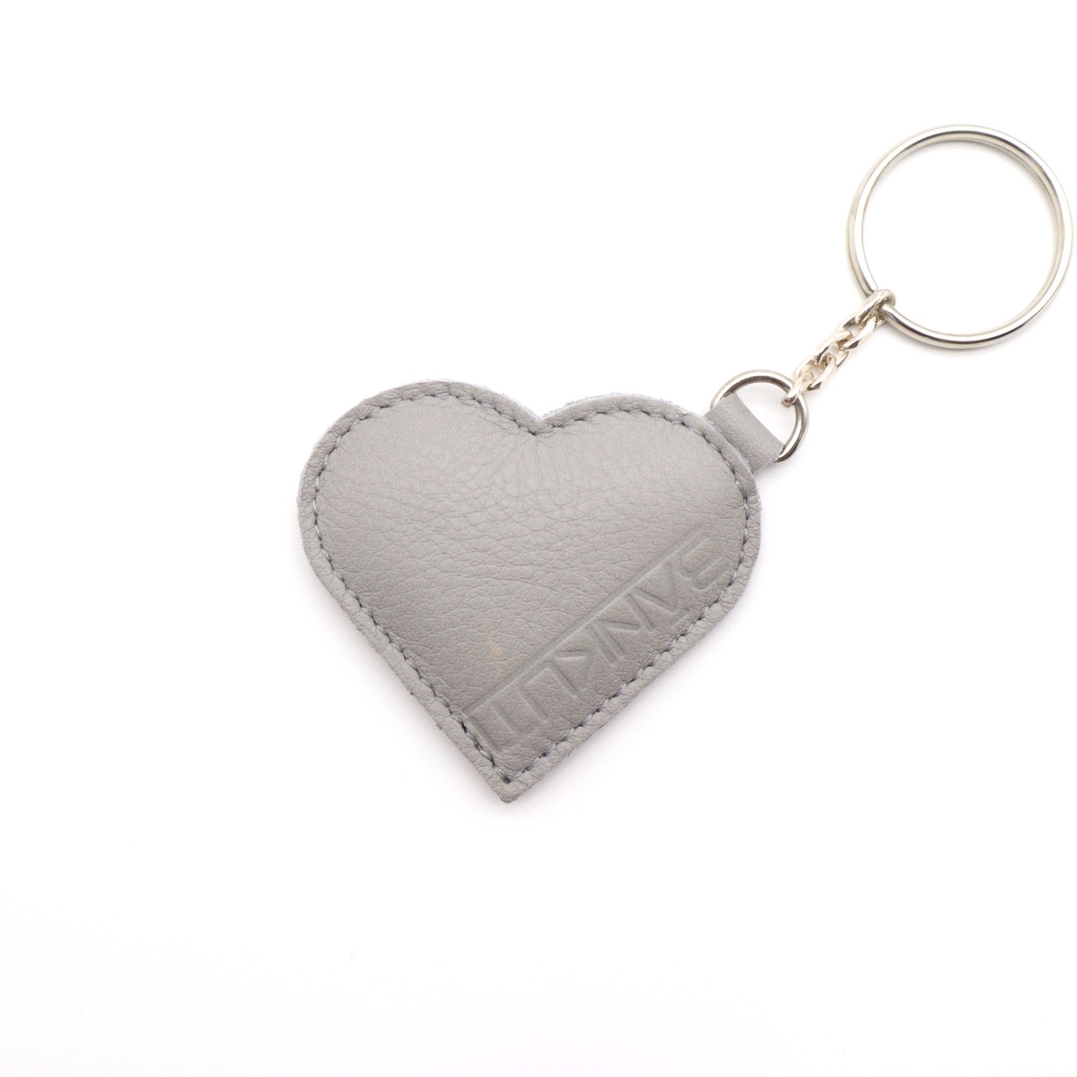 LEATHER HEART KEYCHARM GRAY/SNAKE